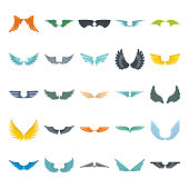 Wings set on white background. Heraldic flat wings. Element for logo, label and emblems design.