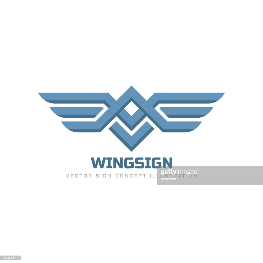 Wings sign - vector logo template concept illustration. Transport abstract symbol. Design element.