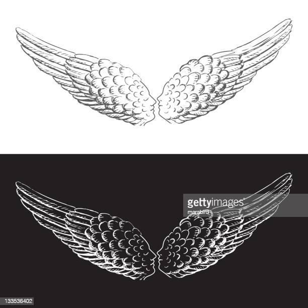 ilustraciones, imágenes clip art, dibujos animados e iconos de stock de alas que beso - alas de angel