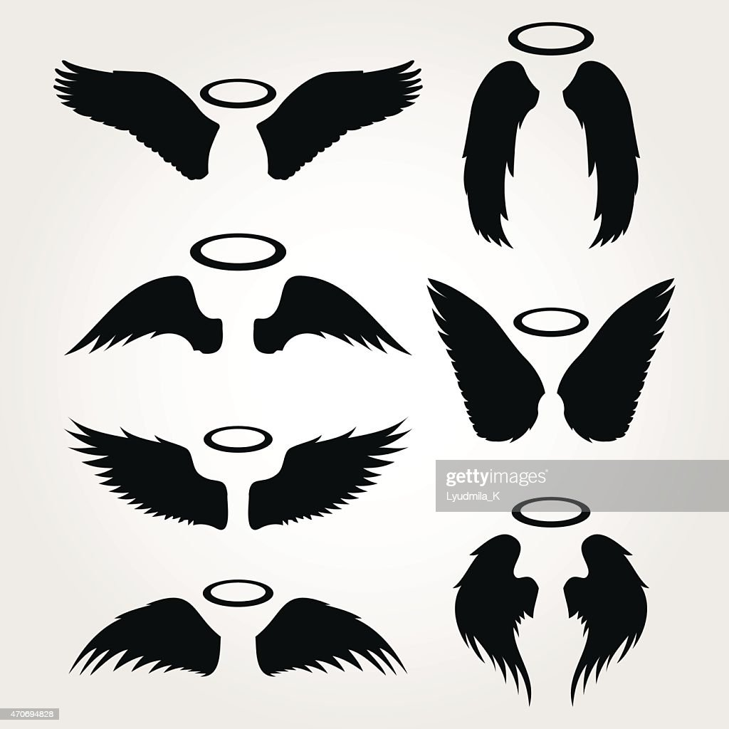 wings vector icon set