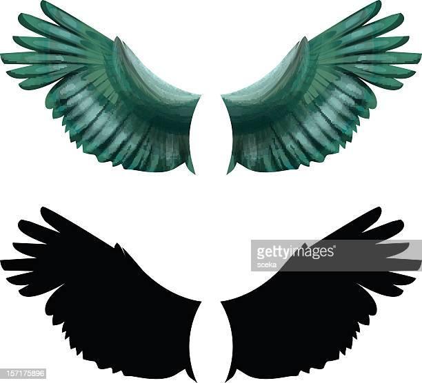 ilustraciones, imágenes clip art, dibujos animados e iconos de stock de wings - alas de angel