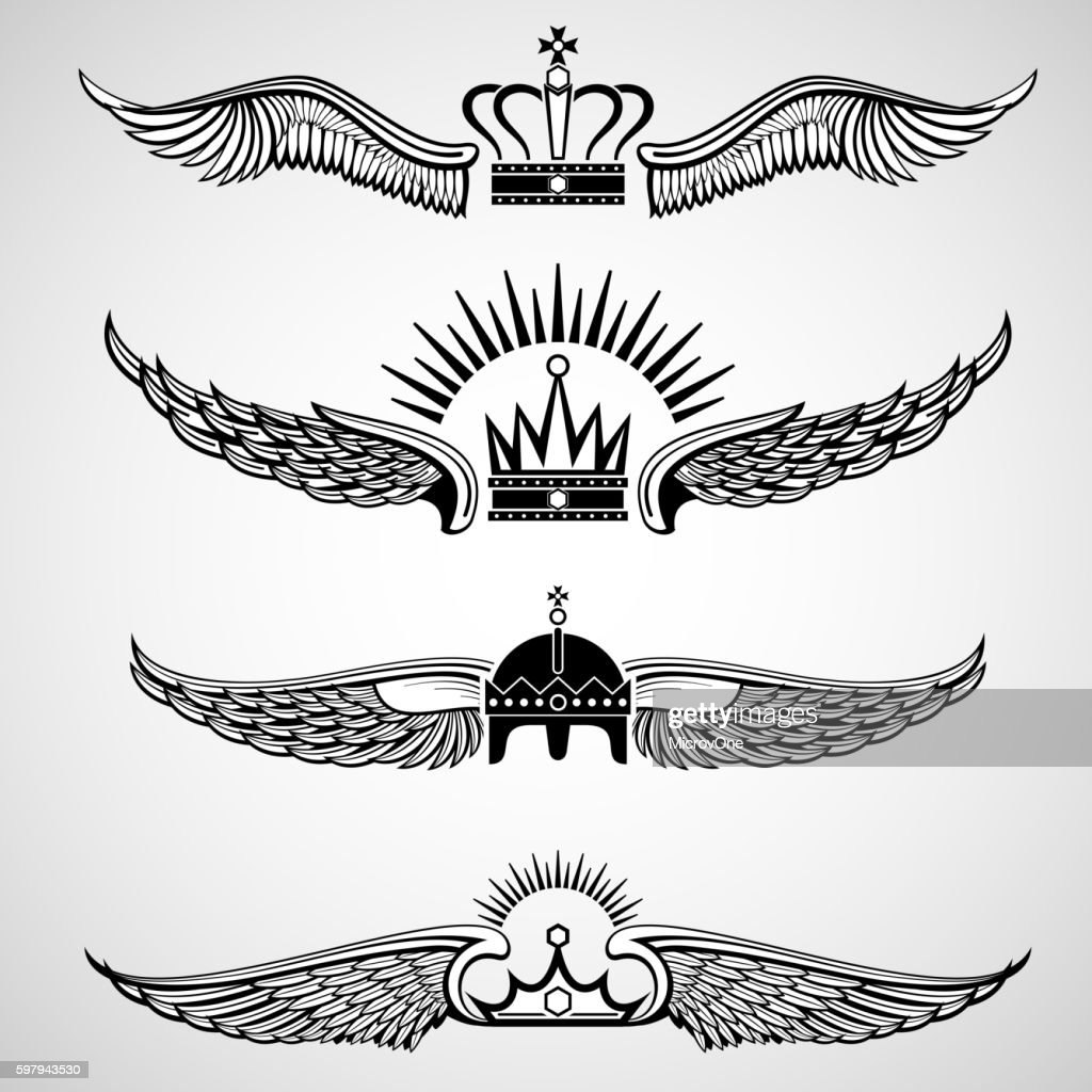 Wings with crowns vector emblems set