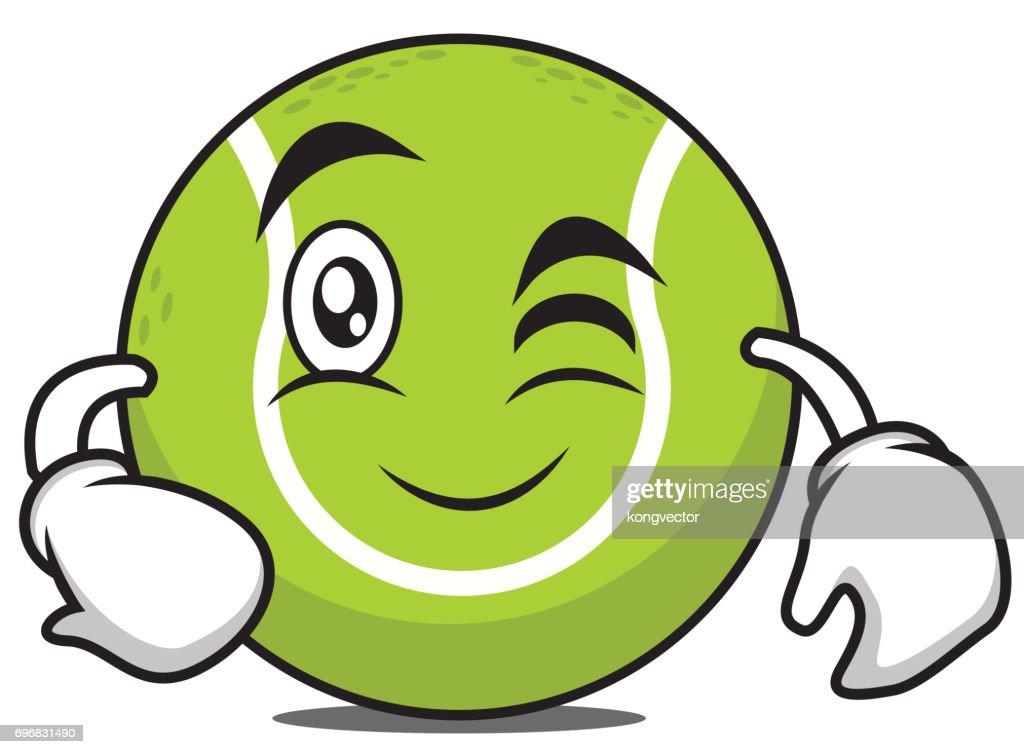 Wink tennis ball cartoon character vector illustration