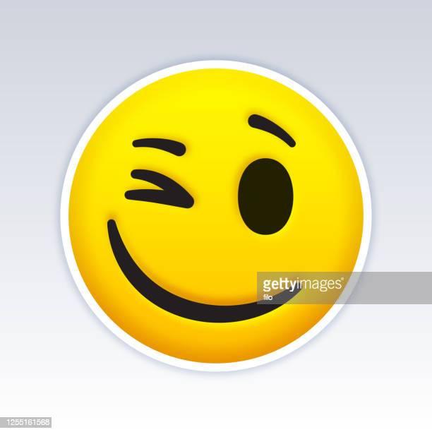 winking emoji gesicht - emoticon stock-grafiken, -clipart, -cartoons und -symbole