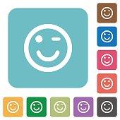 Winking emoticon flat icons