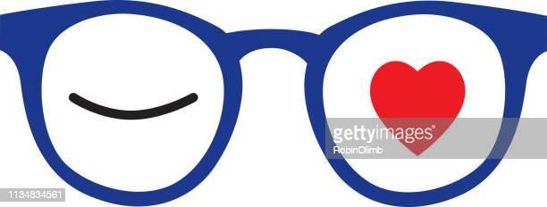 ilustraciones, imágenes clip art, dibujos animados e iconos de stock de anteojos de corazón de winking - flirting