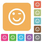 Winking icons with shadows and outlines rounded square flat icons