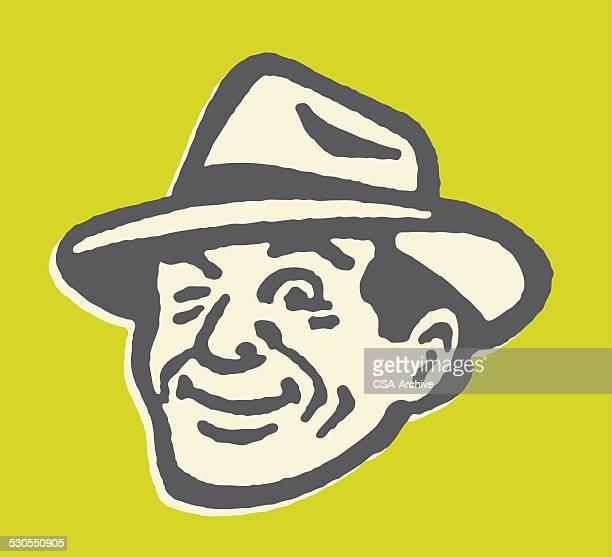 winking man wearing fedora - fedora stock illustrations