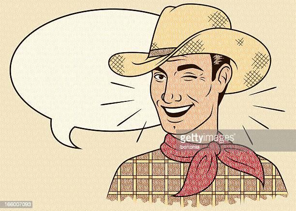 ilustraciones, imágenes clip art, dibujos animados e iconos de stock de guiñar el ojo con burbujas de discurso retro cowboy - eyes closed