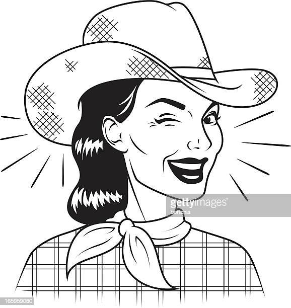 winking retro cowgirl - cowboy hat stock illustrations, clip art, cartoons, & icons