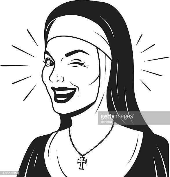 Winking Retro Nun