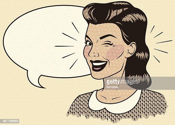 winking retro woman - conspiracy stock illustrations, clip art, cartoons, & icons