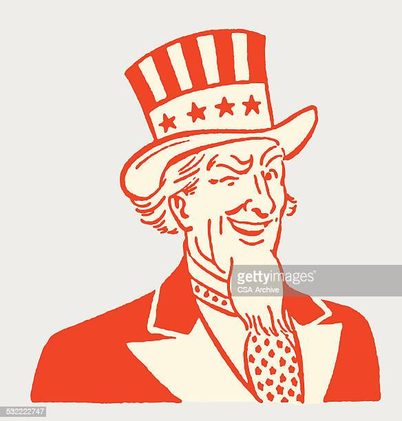 winking uncle sam - independence day stock illustrations, clip art, cartoons, & icons