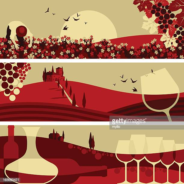 winne banners - tuscany stock illustrations, clip art, cartoons, & icons