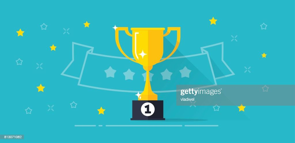 Winner award banner vector illustration, flat cartoon trophy golden cup with first place prize and line outline ribbon with stars, competition reward, victory, championship