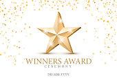 Winner award. gold star 3d symbol.