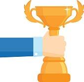 Winner award vector illustration. Business goal achievement vector concept.