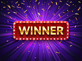 Winner banner. Win congratulations vintage frame, golden congratulating framed sign with gold confetti vector background illustration
