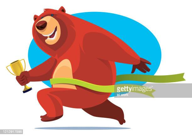 winner bear holding trophy and crossing finish line - glühend stock illustrations
