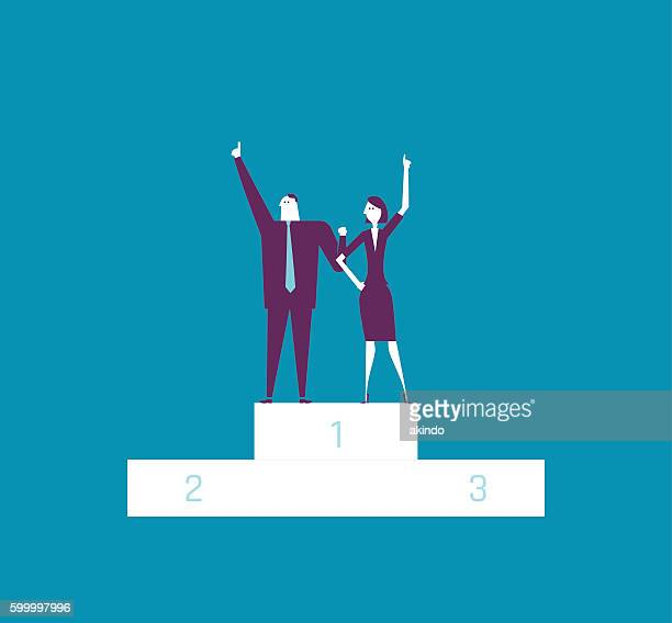 winner businesswoman and businessman raising hands on platforma - success stock illustrations, clip art, cartoons, & icons