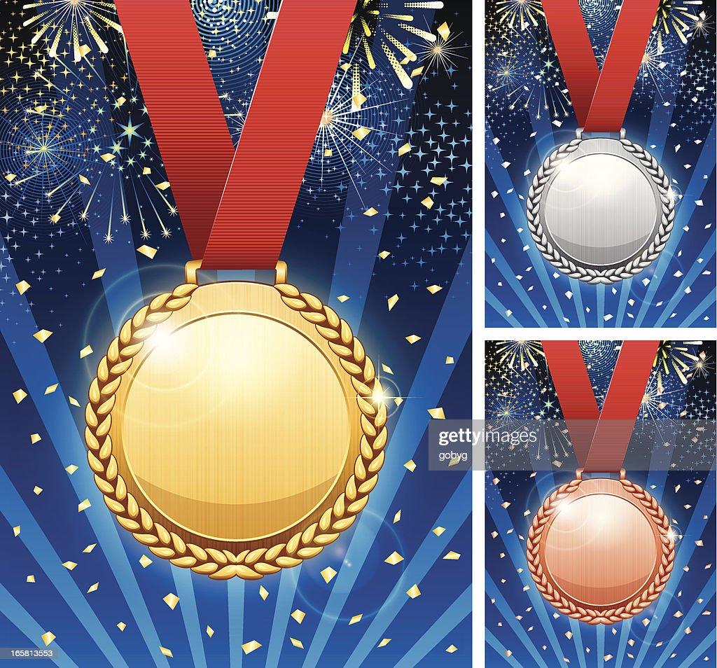 Winner celebration with medals : stock illustration