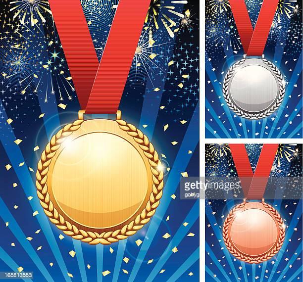 winner celebration with medals - gold medalist stock illustrations