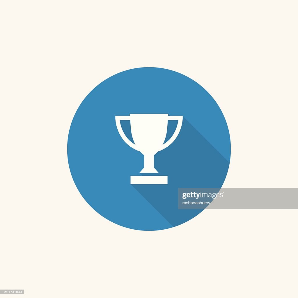 winner cup Flat Blue Simple Icon with long shadow