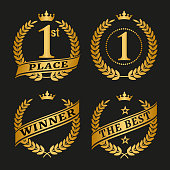 Winner golden laurel wreathes set on black background.