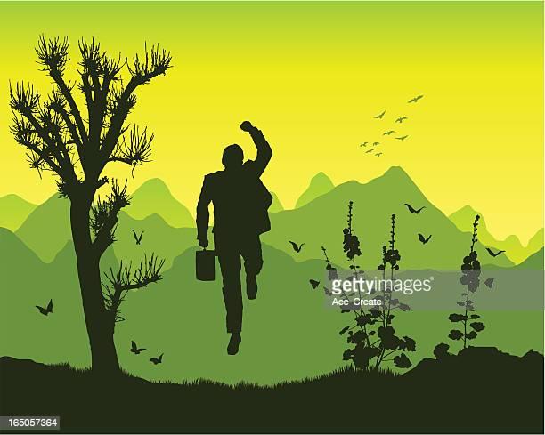 winner in the mountains - glühend stock illustrations