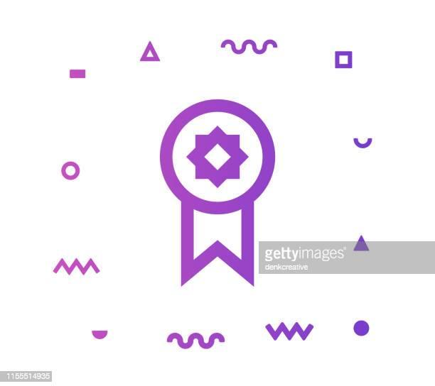 illustrations, cliparts, dessins animés et icônes de conception d'icône de style de ligne gagnante - insigne