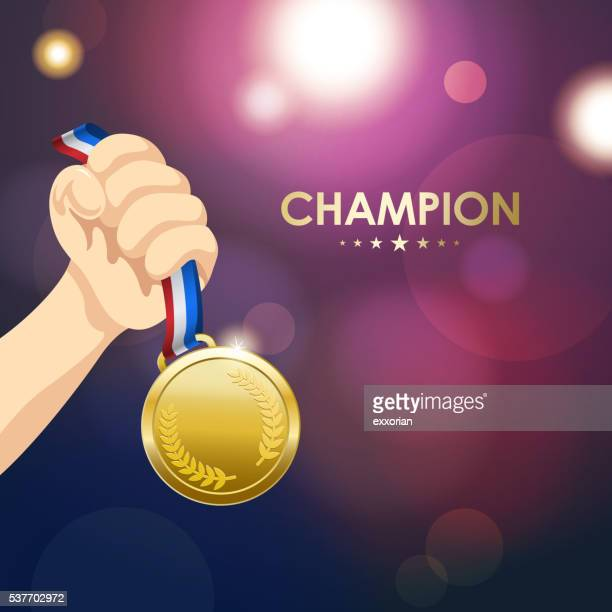 winner medal - the olympic games stock illustrations