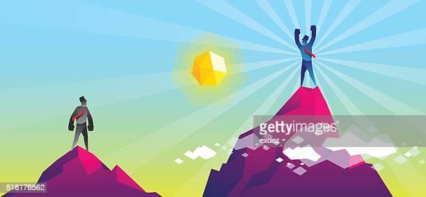 ilustrações, clipart, desenhos animados e ícones de vencedor no topo - mountain peak