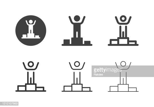 gewinner podium icons - multi series - winners podium stock-grafiken, -clipart, -cartoons und -symbole