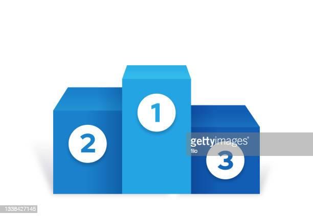 stockillustraties, clipart, cartoons en iconen met winner podium ranking first second third 123 place - erepodium