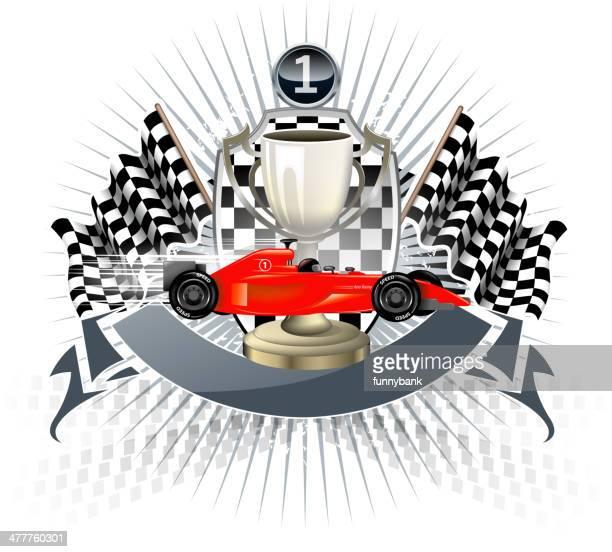 winner shield - formula one racing stock illustrations, clip art, cartoons, & icons