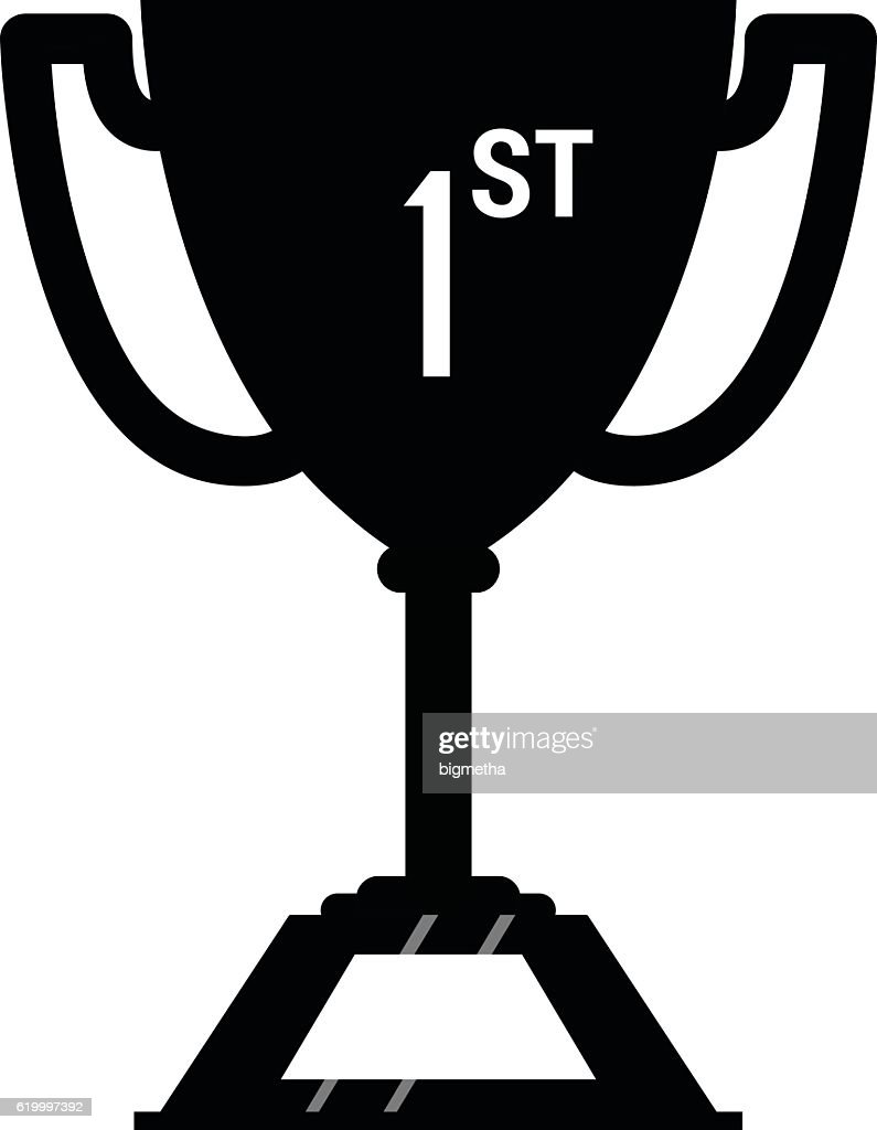 Winner Trophy Cup Icon Sport Competition Silhouette Symbol Vec