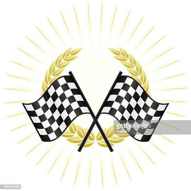 winners circle - checkered flag stock illustrations