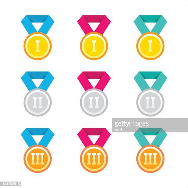 winners medal - colorful collection - flat design - gold medalist stock illustrations