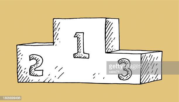 illustrazioni stock, clip art, cartoni animati e icone di tendenza di vincitori illustrazione disegnata a mano sul podio - winners podium