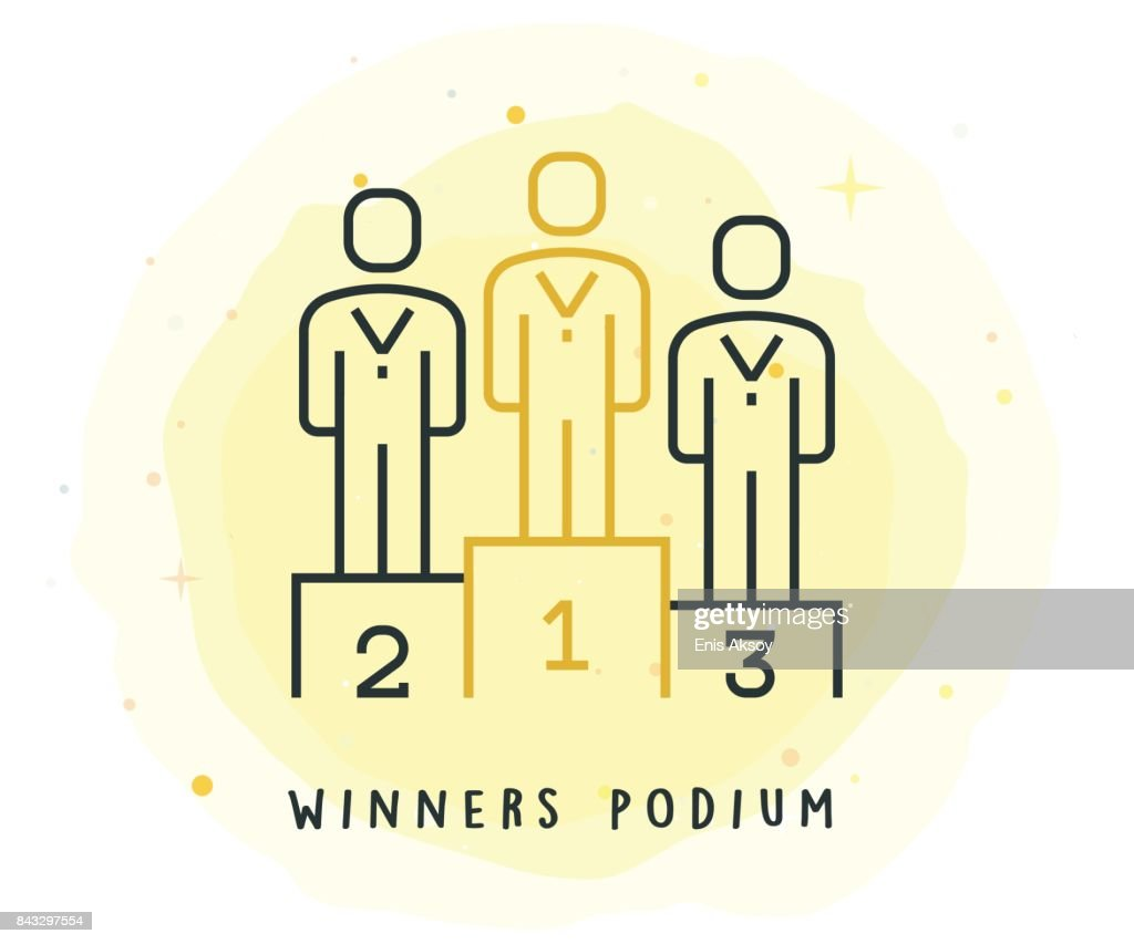 Winners Podium Icon with Watercolor Patch : stock illustration