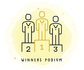 Winners Podium Icon with Watercolor Patch