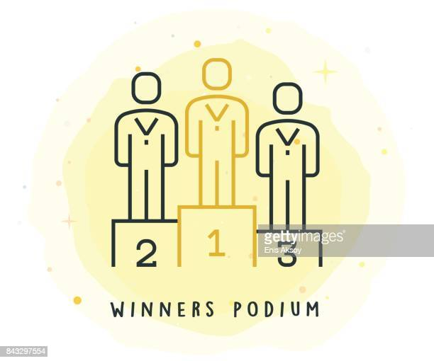 winners podium icon with watercolor patch - winners podium stock illustrations