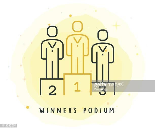 illustrazioni stock, clip art, cartoni animati e icone di tendenza di icona podio vincitori con patch acquerello - podio del vincitore