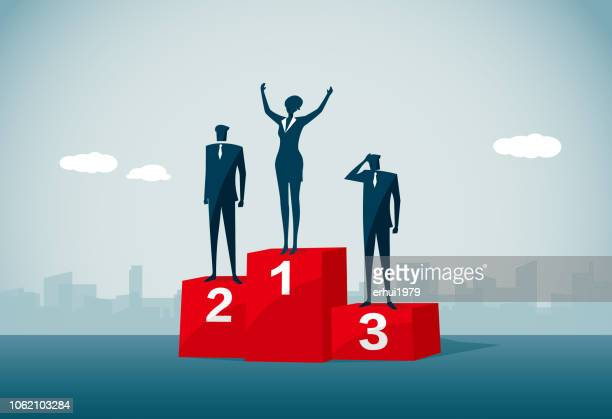 winners podium - three people stock illustrations