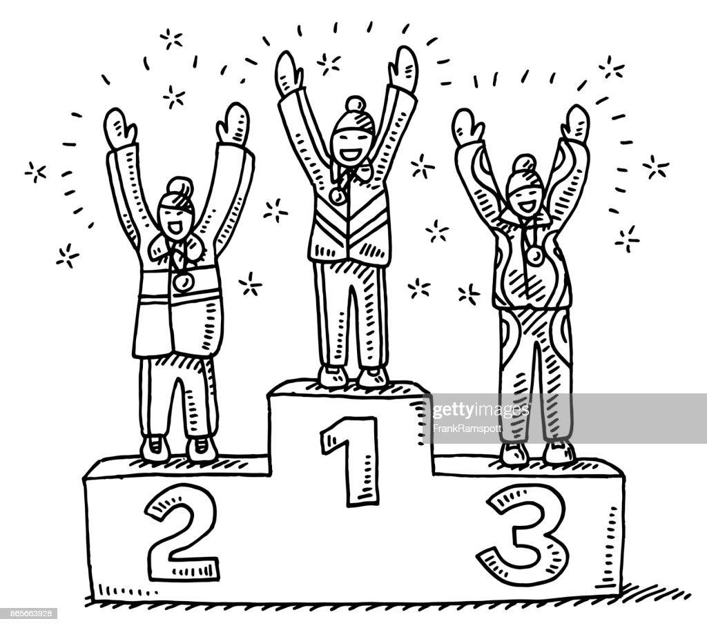 Winners Podium Winter Sport Drawing : Stock Illustration