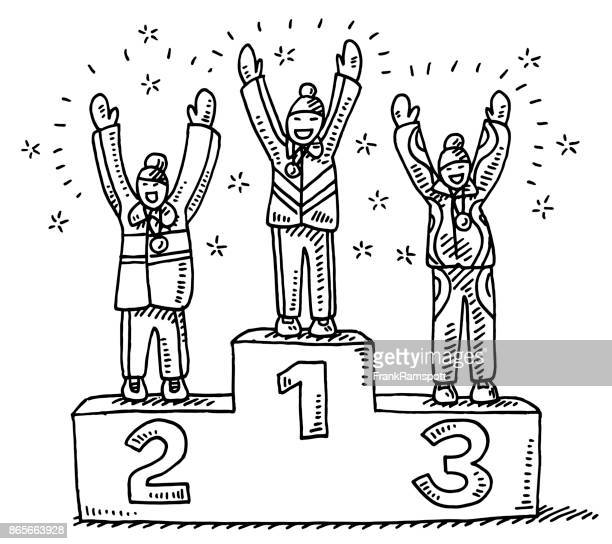winners podium winter sport drawing - joy stock illustrations
