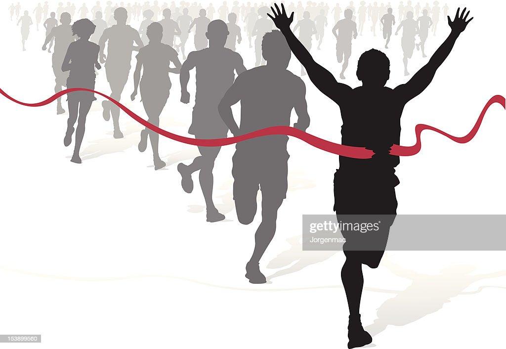 Winning Athlete ahead of other marathon runners.