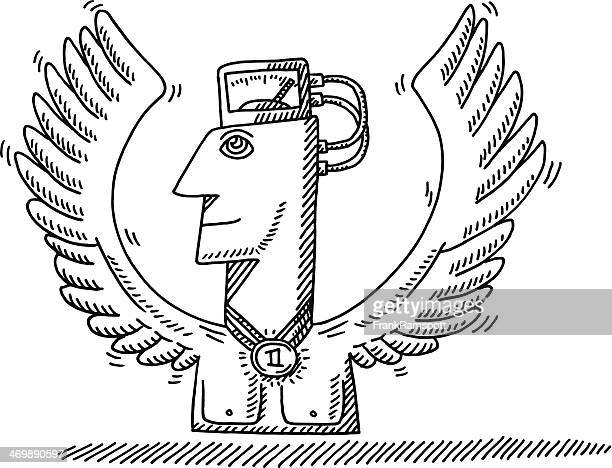 Preisgekrönte Sportler starke Wings Zeichnung