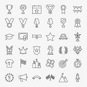 Winning Award Line Icons Set