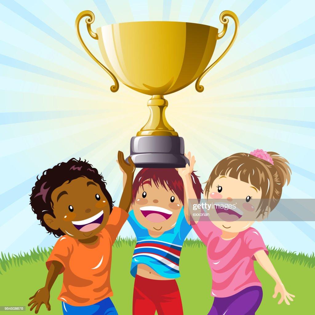Winning Group Of Children : stock vector